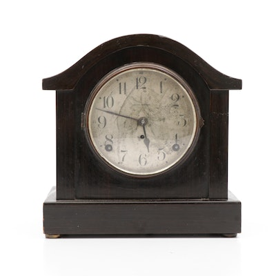 Seth Thomas Ebonised Metal Mantel Clock, 20th Century