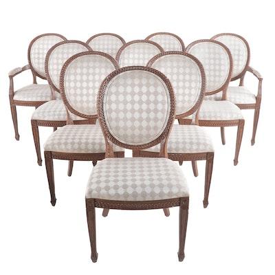 Set of Louis XVI Style Shield Back Dining Chairs By Casa Stradivari