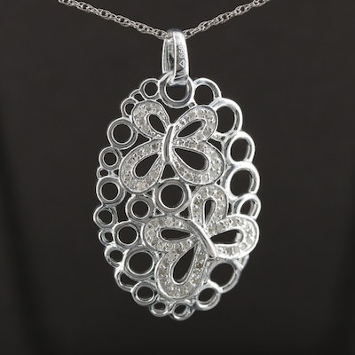 Fine Silver Diamond Butterfly Pendant on Sterling Silver Rope Chain Necklace