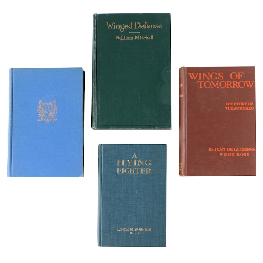"""Aviation Books including """"A Flying Fighter"""" by Lieut. E. M. Roberts, 1918"""