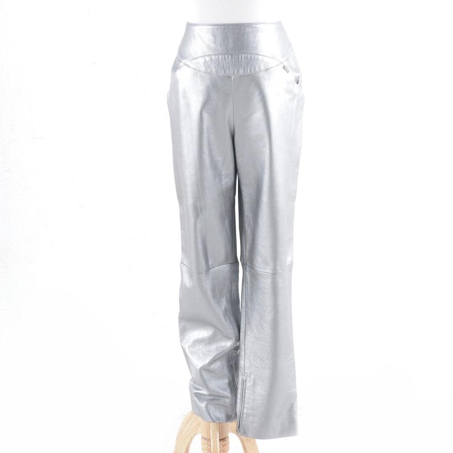 Chanel Fall Winter 1999 High Waist Silver Lambskin Trousers