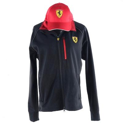 Ferrari Black Polyamide/Lycra Jacket and Red Cap