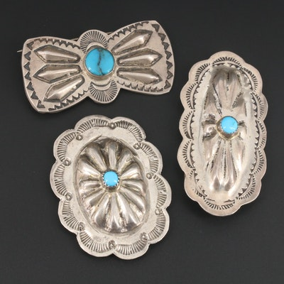 Southwestern Style Sterling Silver Turquoise Brooch and Conchos