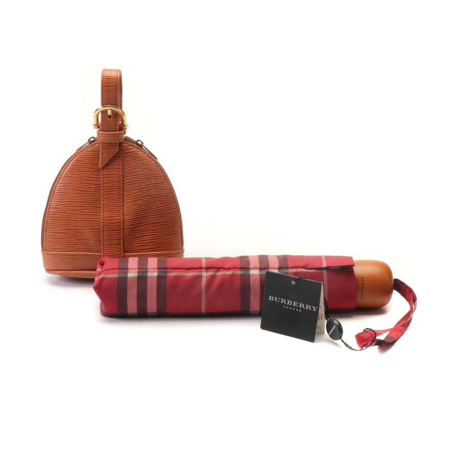 Burberry London Umbrella and Epi-Style Leather Wristlet