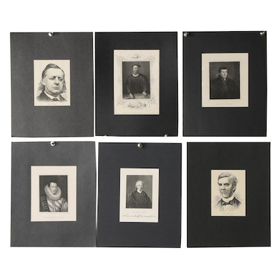 19th Century Engraved Portrait Book Plates