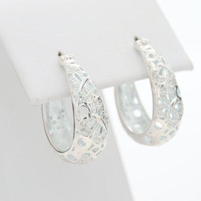 Fine Silver Diamond Hoop Earrings