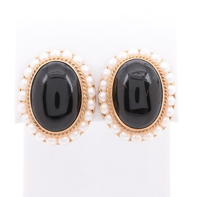 Tilson Gem Designs 18K Yellow Gold Black Onyx and Cultured Pearl Drop Earrings