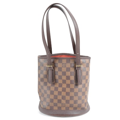 Louis Vuitton Paris Marais Bucket Bag in Damier Ebene Canvas and Leather
