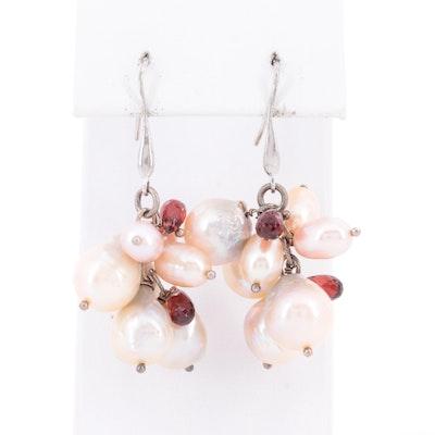 Sterling Silver Cultured Pearl and Garnet Dangle Earrings