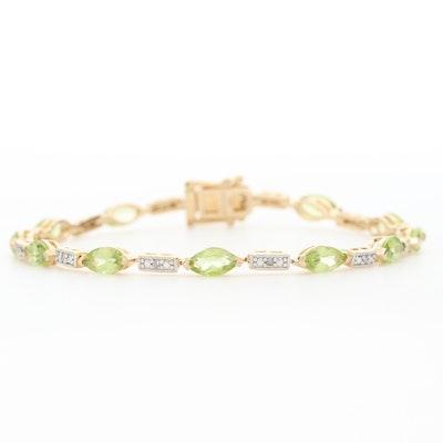Sterling Silver Peridot and Diamond Bracelet