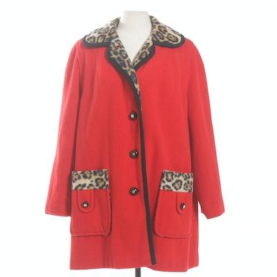 1960s Leopard Print Lined Coat