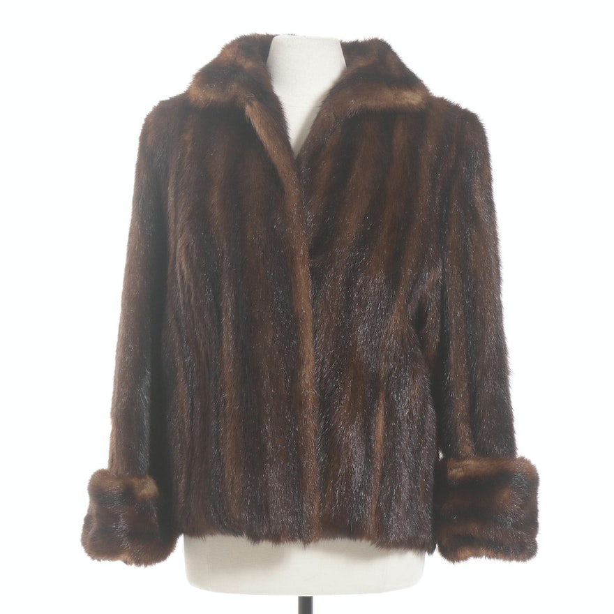Dyed Marmot Fur Jacket with Turned Cuffs, 1950s Vintage