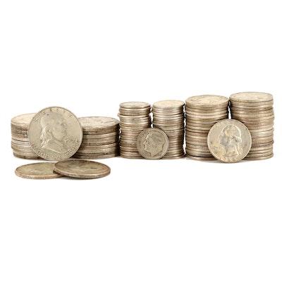 American Silver Coins Including Twenty Franklin Silver Half Dollars