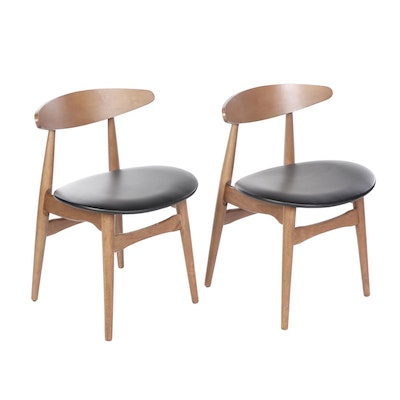 Pair of Contemporary Mid Century Modern Style Wood & Vinyl Side Chairs