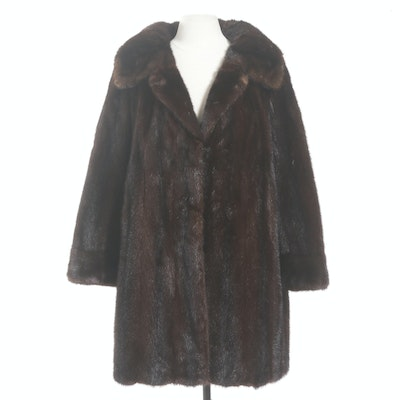 Mahogany Mink Fur Swing Coat with Wide Notched Collar from Hopper Furs, Vintage