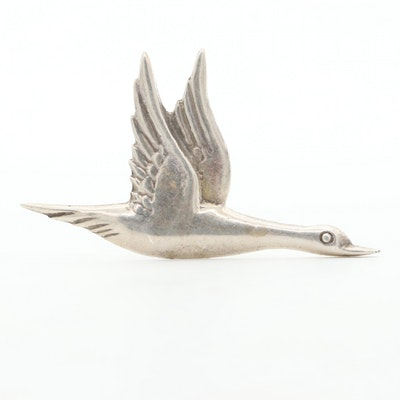 Vintage Sterling Silver Goose Brooch