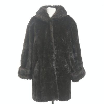 Liz Claiborne Faux Fur Stroller Coat, Vintage