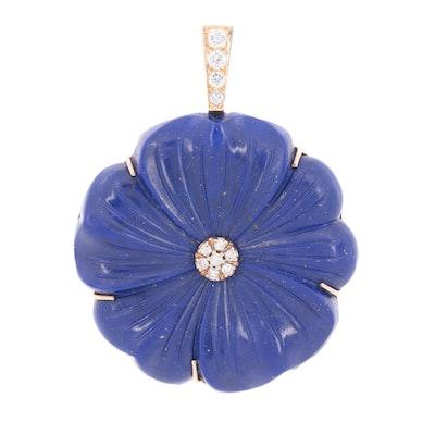 14K Yellow Gold Diamond and Lapis Lazuli Floral Pendant