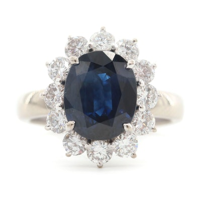14K White Gold Blue Sapphire Ring with Diamond Halo