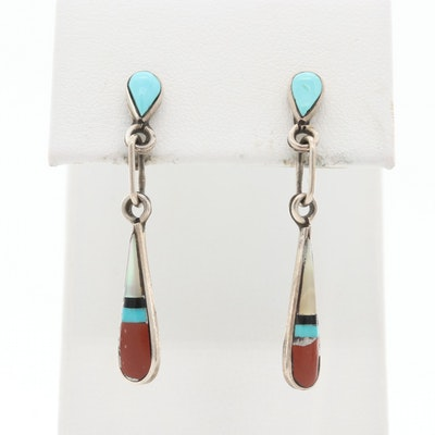 Southwest Style Sterling Silver Turquoise, Mother Of Pearl and Jasper Earrings