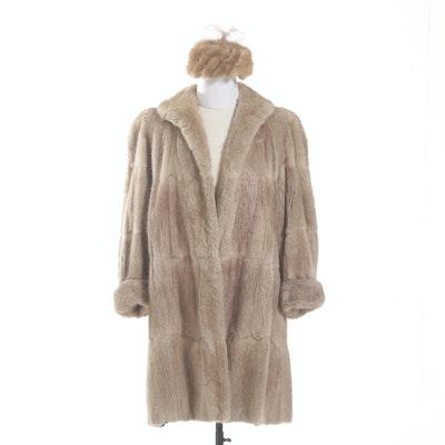 Bleached Muskrat Fur Swing Coat and Mink Fur Hat, 1950s Vintage