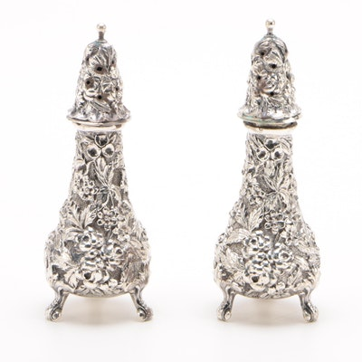 """Stieff """"Rose"""" Sterling Salt and Pepper Shakers, 1917"""