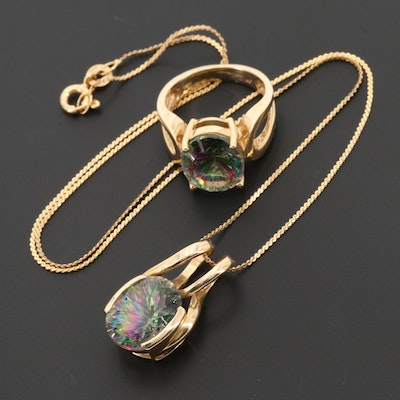 14K Yellow Gold Mystic Topaz Ring and Necklace Set