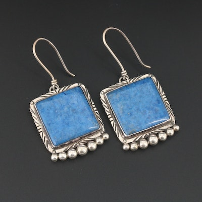 Southwestern Style Sterling Silver Denim Lapis Lazuli Earrings