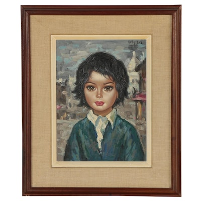 Nelly Dax Oil Portrait of Child in Blue