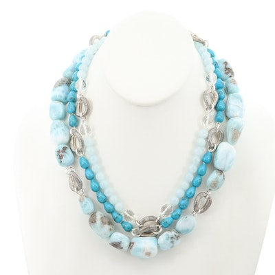 Michael Dawkins Sterling Larimar, Beryl, Turquoise Triple Strand Beaded Necklace