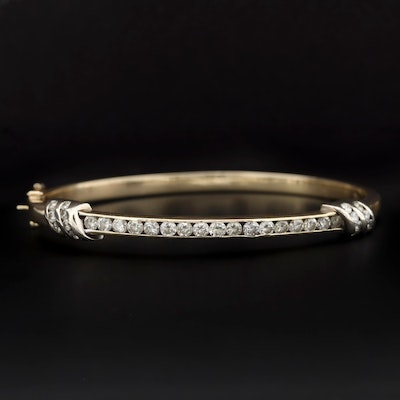 14K Yellow Gold 1.54 CTW Diamond Hinged Bracelet