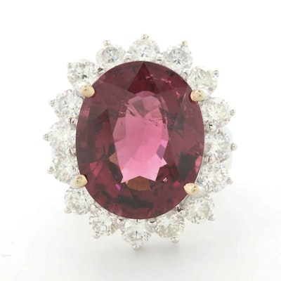 14K White Gold 10.96 CT Rubellite and 2.24 CTW Diamond Ring