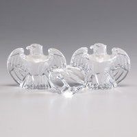 Steuben Eagle Crystal Figurines and Eagle Crystal Hand Cooler
