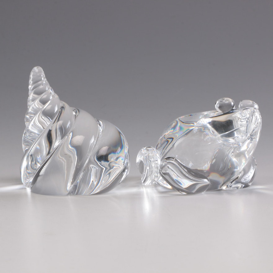 """Steuben Art Glass """"Frog"""" and """"Nautilus Shell"""" Figurines, Mid/Late 20th Century"""