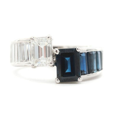 Platinum 1.83 CTW Diamond and Blue Sapphire Band