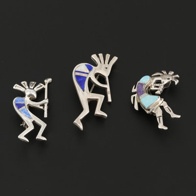Collection of Sterling Silver Inlay Kokopelli Brooches