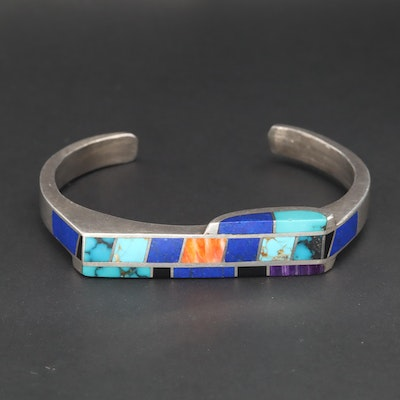 Southwestern Style Sterling Silver Lapis Lazuli, Turquoise and Spiny Oyster Cuff