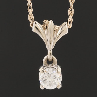 14K White and Yellow Gold Diamond Solitaire Necklace