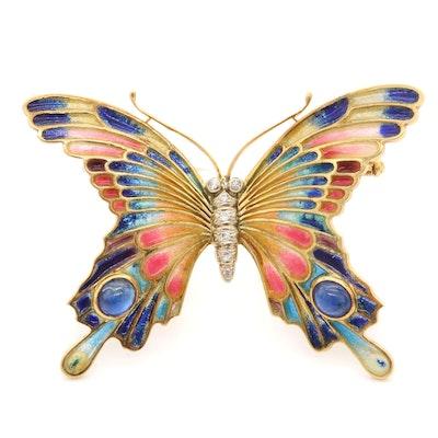 Meister 18K Yellow Gold Diamond, Enamel and Sapphire Butterfly Brooch