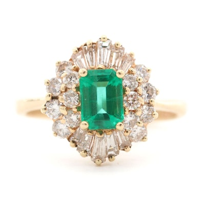 14K Yellow Gold Emerald and 1.28 CTW Diamond Ring