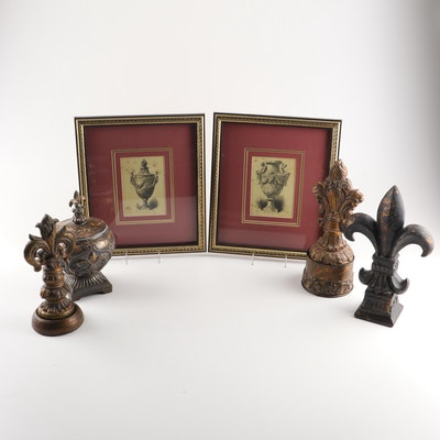 Decorative Boxes and Finials With Etchings After Charles Kreutzberger