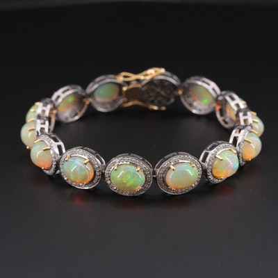 Sterling Silver Opal and 2.03 CTW Diamond Bracelet with 14K Yellow Gold Accents