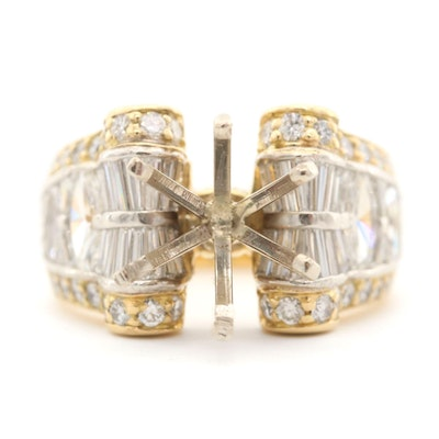 18K Yellow Gold 3.55 CTW Diamond Semi-Mount Ring with White Gold Accents