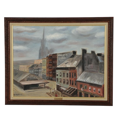 1969 Oil Painting of Architectural Landscape