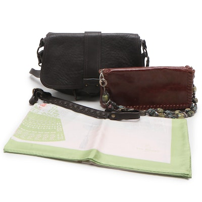 Abaco and Susan Farber Brown Leather Shoulder Bags and Yves Delorme Silk Scarf