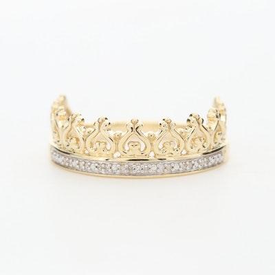 10K Yellow Gold Diamond Crown Ring