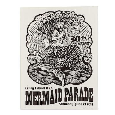 "Block Relief Poster ""Coney Island USA Mermaid Parade"""