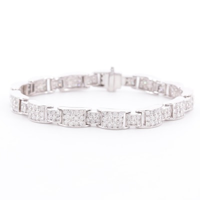 14K White Gold 7.02 CTW Diamond Bracelet