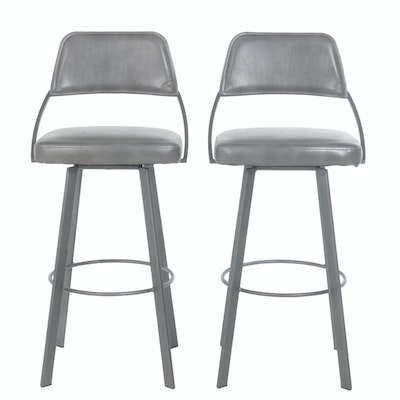 "Contemporary Metal ""Wish"" Barstools by Trica, Pair"