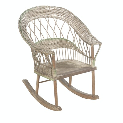 Victorian Child's Painted Wicker Rocking Chair